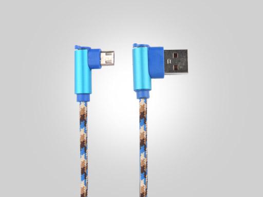 USB 2.0 AM Elbow-MK Elbow Blue Aluminum Shell OD3.4 Seaside Blue Braided Wire