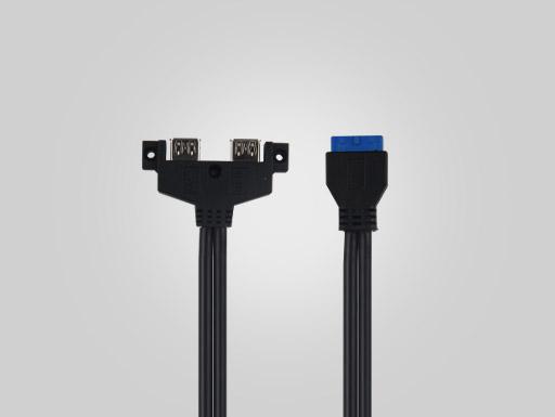 USB3.0 20PIN TO 2AF OD5.5 BLUE (Hypotenuse)